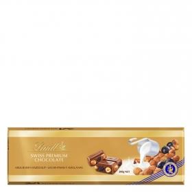 Chocolate suizo con leche, pasas y avellanas Lindt 300 g.