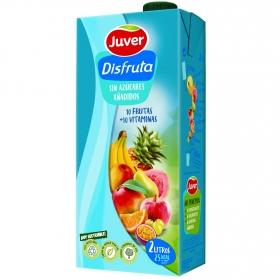 Zumo de 10 frutas y vitaminas Juver sin azúcar añadido brik 2 l.