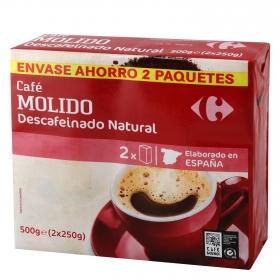 Café molido natural descafeinado Carrefour pack de 2 unidades de 250 g.