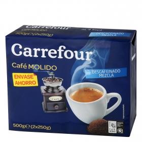 Café molido mezcla descafeinado Carrefour pack de 2 unidades de 250 g.