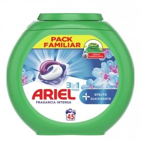 Detergente en cápsulas 3 en 1 + efecto suavizante Ariel 45 ud.