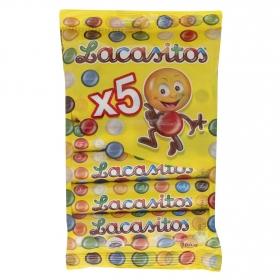 Grageas de chocolate Lacasitos Lacasa pack de 5 unidades de 20 g.