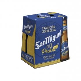 Cerveza San Miguel 0,0 con limón pack de 6 botellas de 25 cl.
