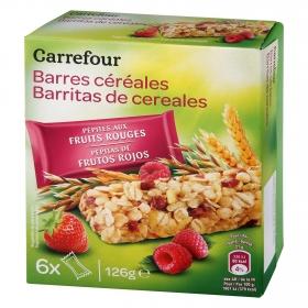 Barritas de cereales con frutos rojos Carrefour 126 g.
