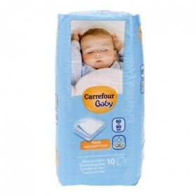 Protector de cama 60x90 cm. Carrefour Baby 10 ud.