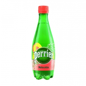 Agua mineral Perrier natural con gas sabor melocotón 50 cl.