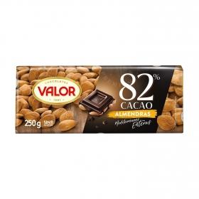 Chocolate negro 82% con almendras mediterráneas enteras Valor sin gluten 250 g.