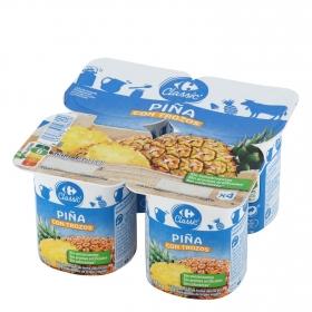 Yogur con trozos de piña Carrefour pack de 4 unidades de 125 g.