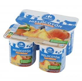 Yogur con trozos de melocotón Carrefour pack de 4 unidades de 125 g.
