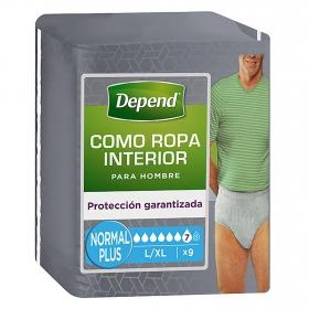 Calzoncillo incontinencia hombre talla L/XL Depend 9 ud.