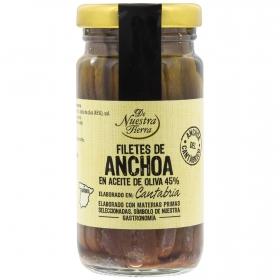 Filetes de anchoa del Cantábrico en aceite de oliva De Nuestra Tierra 100 g.