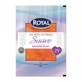 Salmón ahumado suave contenido reducido en sal Royal 80 g.