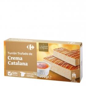 Turrón trufado de crema catalana Carrefour sin gluten 200 g.