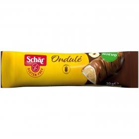 Barrita de crema de avellanas cubiertas de chocolate con leche Schär  sin gluten 100 g.