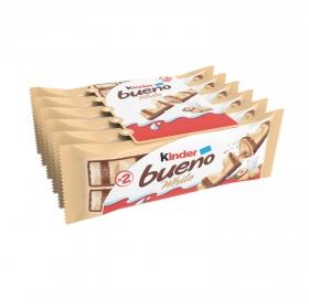 Barrita de chocolate blanco relleno de crema de avellanas Kinder Bueno pack de 6 unidades de 39 g.