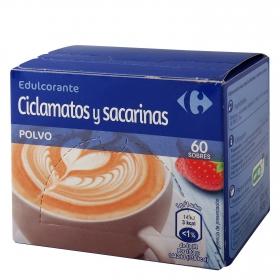 Edulcorante climatos y sacarinas en polvo Carrefour 60 ud.