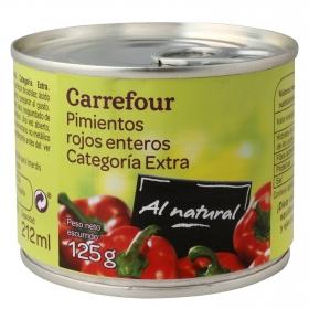 Pimientos rojos enteros al natural Carrefour 125 g.