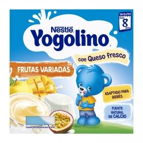 Petit de queso fresco con frutas desde 8 meses Nestlé Yogolino sin gluten pack de 4 unidades de 100 g.
