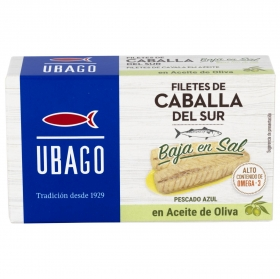 Filetes de caballa del sur en aceite de oliva bajo contendio de sal Ubago 85 g.