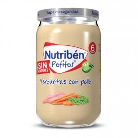 Tarrito de pollo con guisantes y zanahorias desde 6 meses Nutribén 235 g.
