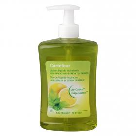 Jabón líquido hidratante de cocina con extractos de limón y albahaca Carrefour 500 ml.