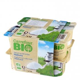 Yogur natural con leche pasteurizada ecológica Carrefour Bio pack de 12 unidades de 125 g.