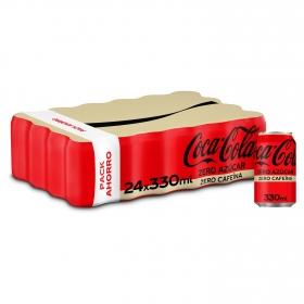 Refresco de cola Coca Cola zero sin cafeína pack de 24 latas de 33 cl.
