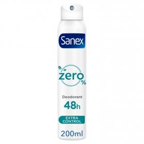 Desodorante en spray Zero 0% extra control Sanex 200 ml.