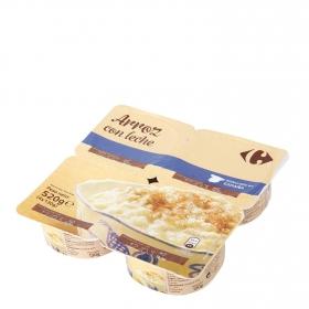 Arroz con leche Carrefour pack de 4 unidades de 130 g.