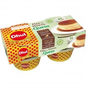 Flan de huevo y queso Dhul pack de 4 unidades de 110 g.