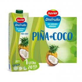 Zumo de piña y coco de Juver-Disfruta Exótico sin azúcar añadido brik 1 l.