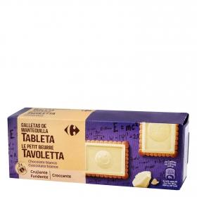 Galletas de mantequilla con tableta de chocolate blanco Carrefour 150 g.