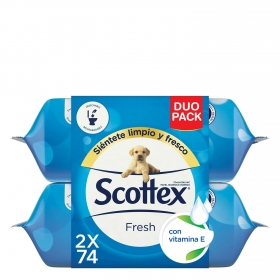 Papel higiénico húmedo Fresh Dúo Jumbo Scottex pack de 2 paquetes de 74 ud.
