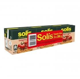 Tomate frito Solís pack de 3 brik de 200 g.