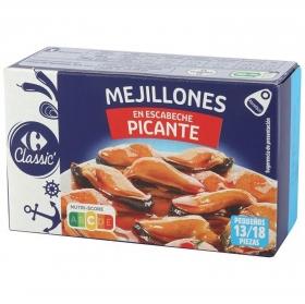 Mejillones en escabeche picantes Carrefour sin gluten 69 g.