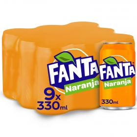 Refresco de naranja Fanta con gas pack de 9 latas de 33 cl.