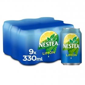 Refresco de té Nestea sabor limón pack de 9 latas de 33 cl.