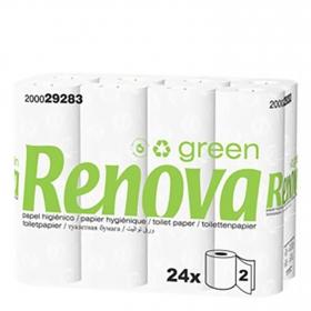 Papel higiénico 2 capas Green Renova 24 rollos.