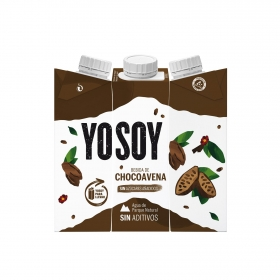 Bebida de avena sabor chocolate sin azúcar añadido YoSoy pack de 3 briks de 250 ml.
