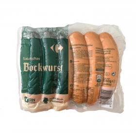Salchichas bockwurst Carrefour sin gluten 540 g.
