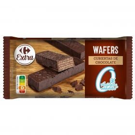 Galletas de barquillo con cacao sin azúcar añadido Carrefour 129 g.