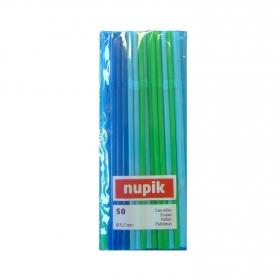 Cañas de Plástico NUPIK  50 Ud - Color y Decoradas