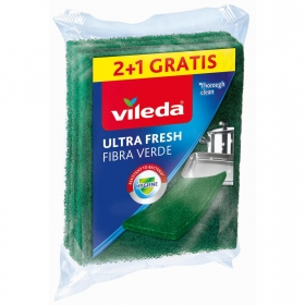 3 Estropajos Multiuso Fibra Verde VILEDA  - Verde