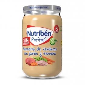 Tarrito de jamón y ternera con menestra de verduras desde los 6 meses Nutribén Potitos 235 g.