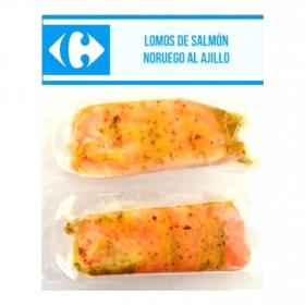 Lomo de salmón noruego marinado al ajillo congelado Carrefour 200 gr