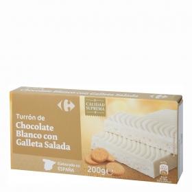 Turrón de chocolate blanco con galleta Carrefour 200 g.