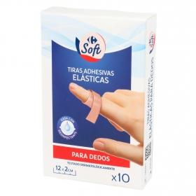 Tiras adhesivas eláticas para dedos Carrefour 10 ud.