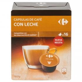 Café con leche en cápsulas Carrefour compatible con Dolce Gusto 16 unidades de 10 g.