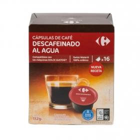 Café descafeinado al agua en cápsulas compatible con Dolce gusto Carrefour 16 unidades de 7 g.