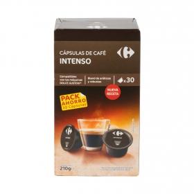 Café intenso en cápsulas Carrefour compatible con Dolce Gusto 30 unidades de 7 g.